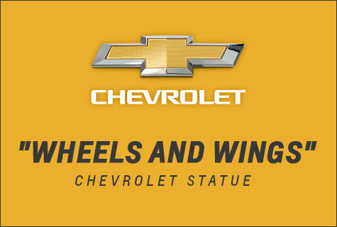 Chevrolet Wheels and Wings Statue at Little Caesars Arena
